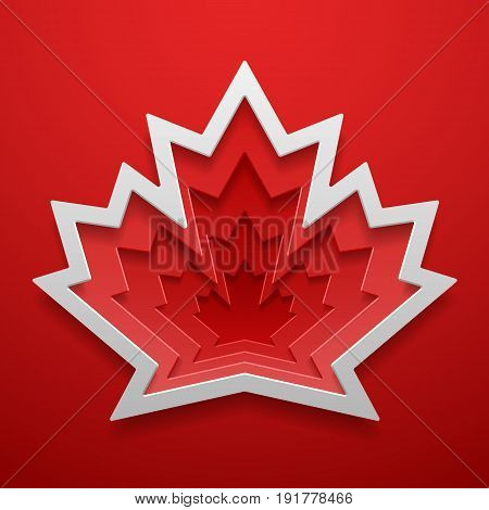 Maple leaf cutted out shape. Canadian symbol decoration template. Vector concept design.