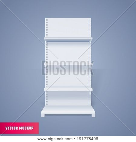 White Empty Advertising Stand front view. Shelves Mockup. Vector illustration