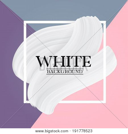 White paint brush texture on Pastel colors abstract background, modern vector girly banner