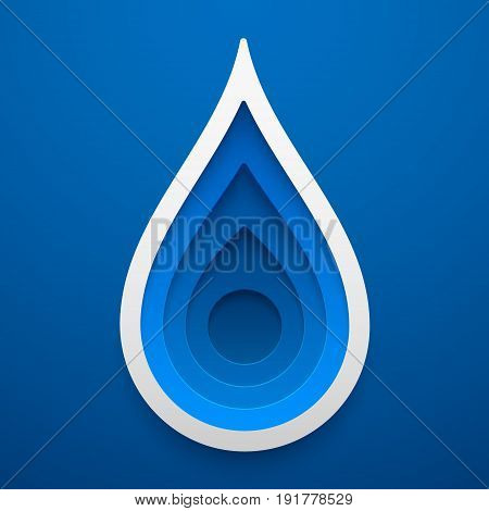 Water drop shape. Paper art of ecology idea. Vector illustration. Concept design for cards posters flyers stickers.