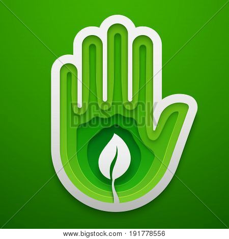Sprout in hand shape. Paper art for the Earth Day decoration. Vector illustration of ecology idea. Concept design for cards posters flyers stickers.