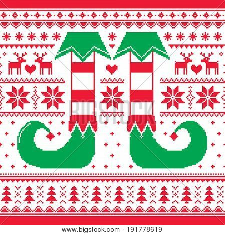Christmas seamless pattern with elf and reindeer, red and green repetitive design