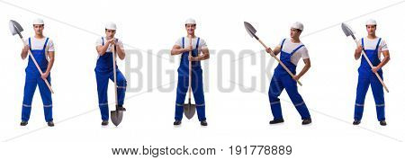 Repairman with spade isolated on white