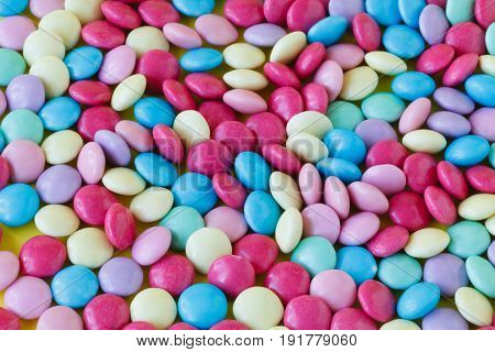 Rainbow Multicolored Gumballs Chewing Gums As Background