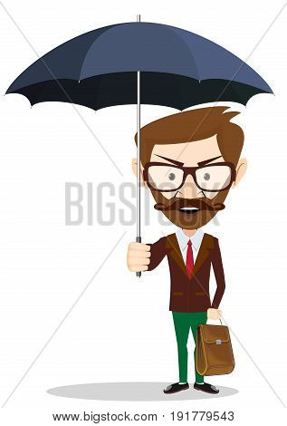 A businessman with beard standing holding umbrella . Stock vector illustration for poster, greeting card, website, ad, business presentation, advertisement design.