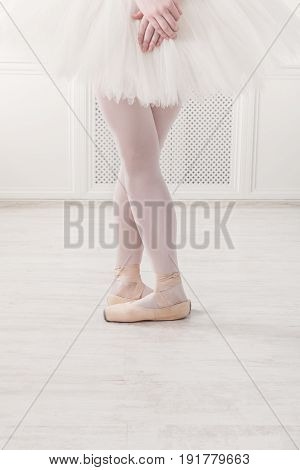 Ballerina legs fifth position in pointe, ballet dancer closeup background