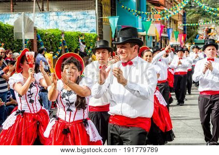 Banos De Agua Santa Ecuador - 29 November 2014: Latino Dancers From Ecuador Performing On The Streets Of South America On November 29 2014