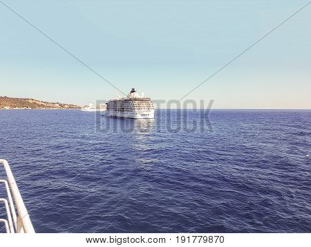 The Mediterranean Sea With Cruise Ships Greece