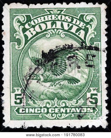 LUGA RUSSIA - APRIL 26 2017: A stamp printed by BOLIVIA shows Andean Condor - a national symbol of Bolivia circa 1928