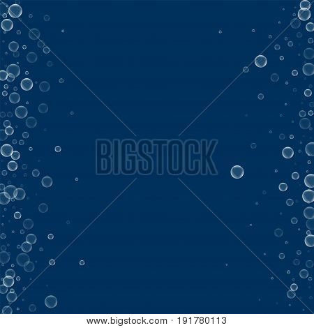 Soap Bubbles. Messy Border With Soap Bubbles On Deep Blue Background. Vector Illustration.