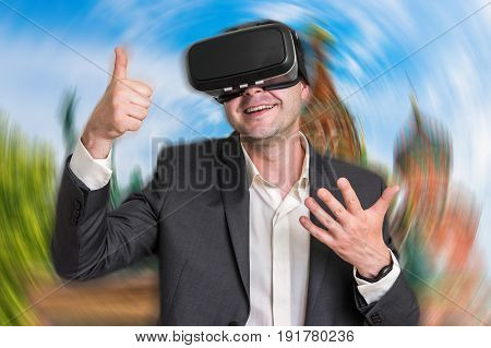 Businessman Using Virtual Reality Headset Glasses