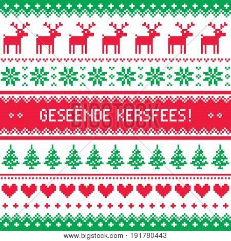 Geseende Kersfees - Merry Christmas in Afrikaans greetings card, seamless pattern