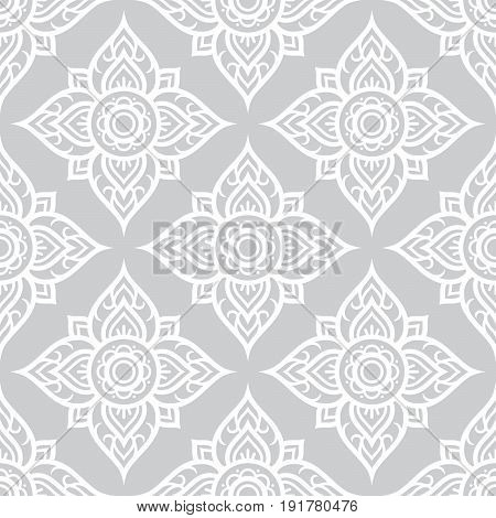 Thai flowers seamless pattern, Asian grey floral design from Thailand