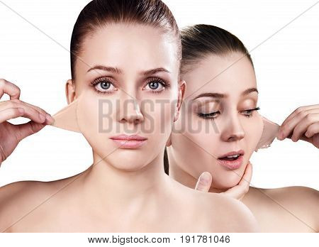 Collage of beautiful woman remove her old dry skin from face. Over white background.