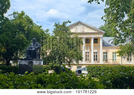 Moscow Russia - June 11 2017: Monument to Russian writer Lev Tolstoy near an ancient mansion on Povarskaya Street in Moscow.