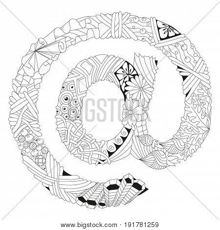 Zentangle stylized sign @ for coloring, t-shirt design