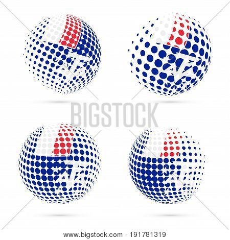 Taaf Halftone Flag Set Patriotic Vector Design. 3D Halftone Sphere In Taaf National Flag Colors Isol