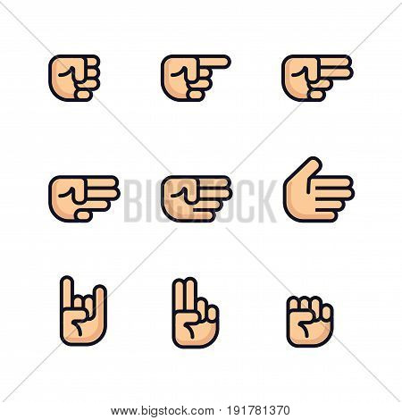 Cartoon hands set. Different gestures of fist. Isolated vector illustration. Flat line design