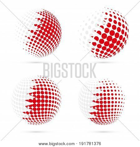 Bahrain Halftone Flag Set Patriotic Vector Design. 3D Halftone Sphere In Bahrain National Flag Color