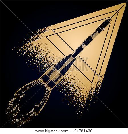 Graphic rocket launching in the starry skies with abstract triangle on background. Vector astronomical art in golden colors