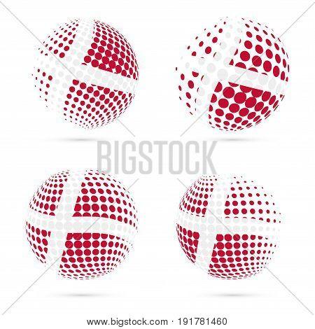 Denmark Halftone Flag Set Patriotic Vector Design. 3D Halftone Sphere In Denmark National Flag Color