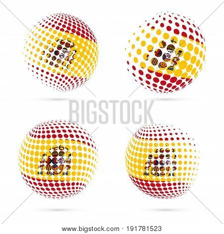 Spain Halftone Flag Set Patriotic Vector Design. 3D Halftone Sphere In Spain National Flag Colors Is