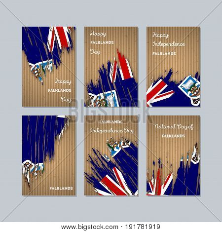 Falklands Patriotic Cards For National Day. Expressive Brush Stroke In National Flag Colors On Kraft