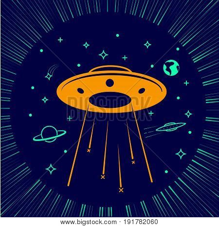 Children Illustration Ufo  Starry Sky