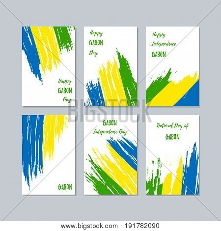 Gabon Patriotic Cards For National Day. Expressive Brush Stroke In National Flag Colors On White Car