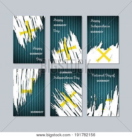Guernsey Patriotic Cards For National Day. Expressive Brush Stroke In National Flag Colors On Dark S