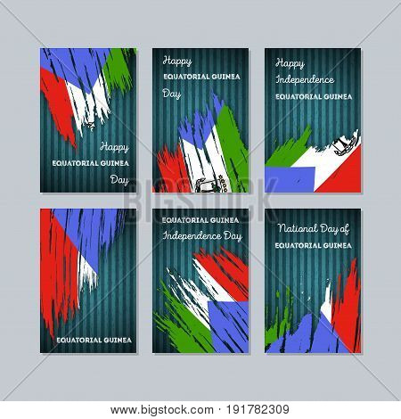 Equatorial Guinea Patriotic Cards For National Day. Expressive Brush Stroke In National Flag Colors