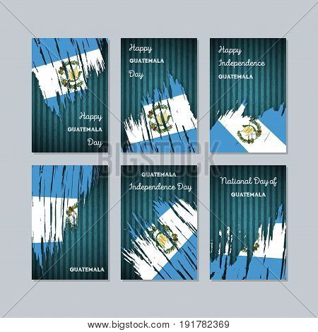 Guatemala Patriotic Cards For National Day. Expressive Brush Stroke In National Flag Colors On Dark
