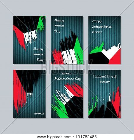 Kuwait Patriotic Cards For National Day. Expressive Brush Stroke In National Flag Colors On Dark Str