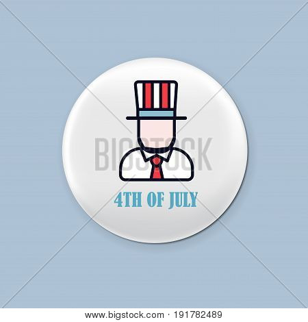 Steel round badge set. Patriotic brooch. 4th of july. Independence Day of America. Realistic mockup