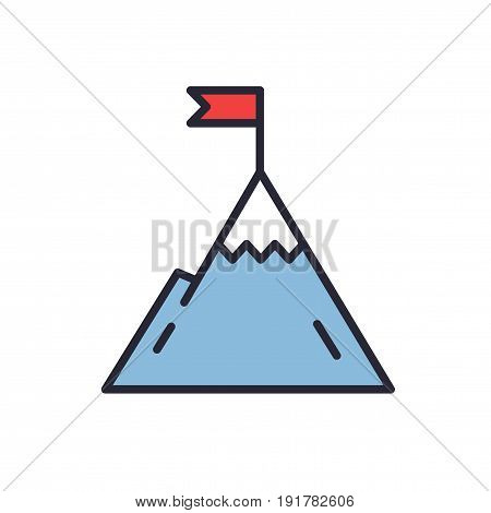 Mountain with flag on a peak. Leadership illustration. Success icon. Line design.