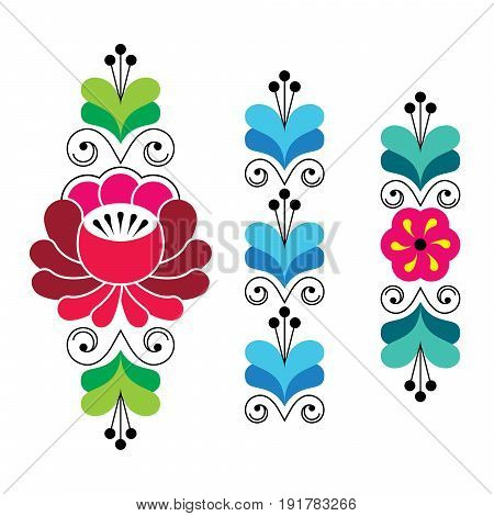 Russian folk art pattern - floral long stripes