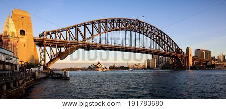 SYDNEY, AUSTRALIA, 26 APRIL 2017 - Sydney harbour bridge and opera house. at sunset, Iconic and world famous landmarks of Australia
