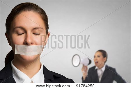Tired woman under boos pressure