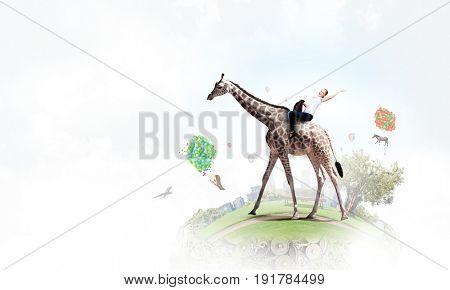 Girl saddle giraffe