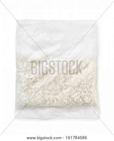 Top view of quick cooking rice bag isolated on white