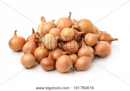 Pile of onion sets isolated on white