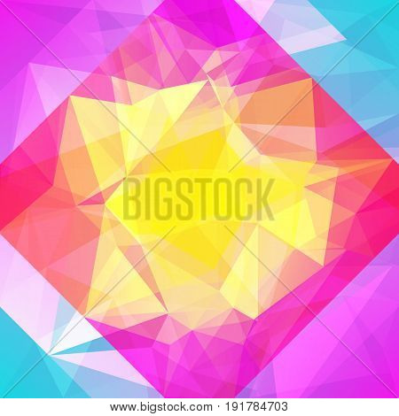 Abstract triangle background. Vibrant rainbow multicolored polygonal backdrop for business presentation. Positive bright gradient color transition for application and web. Geometric colorful banner.