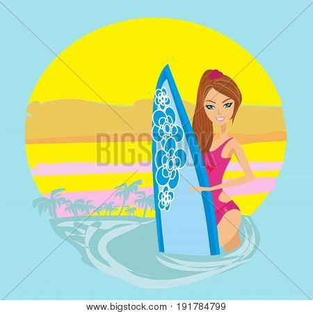 surfer girl on a beach icon , vector illustration