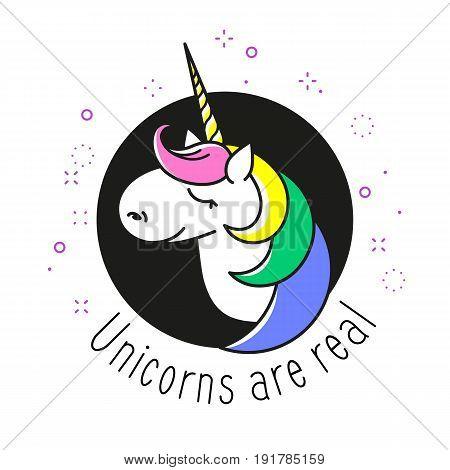 Head portrait horse sticker, patch badge. Cute magic cartoon fantasy dream symbol