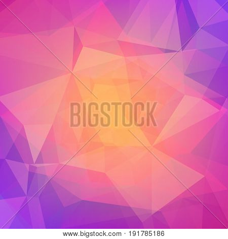 Abstract triangle background. Vibrant rainbow multicolored polygonal backdrop for business presentation. Bright gradient color transition for application and web. Trendy geometric colorful banner.
