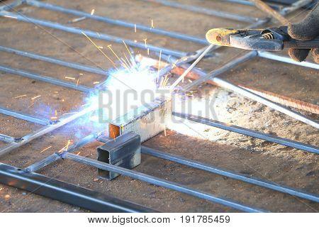 Welder steel working ,  Erecting technical industrial steel
