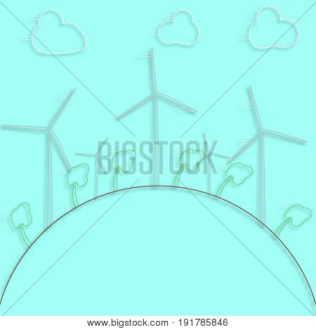 Green concept - wind energy. Winds generators - 3d vector style. Element of design or infographic. Alternative power energy technology. Green energy technologies.