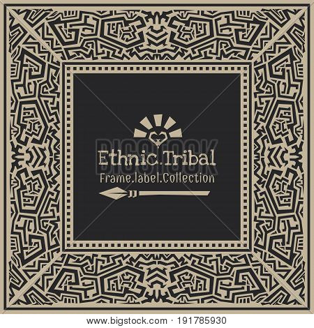 Abstract vector tribal ethnic style frame .
