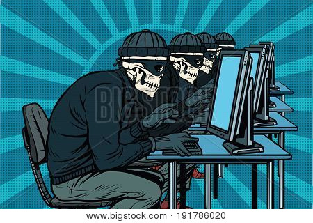 The hacker community, skeletons hacked computers. Pop art retro vector illustration
