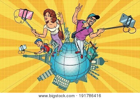 Family tourists and selfie, a trip around the world. Pop art retro vector illustration